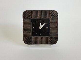 スクエア掛け時計 しのぎ チョコレートの画像