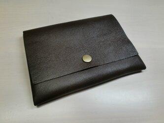 牛革・B7対応パスポートケース・カードポケット付き・ダークブラウン・0194の画像