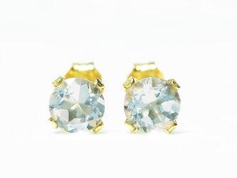 【3月誕生石】輝く水色の2粒。アクアマリン・ピアス [送料無料]の画像