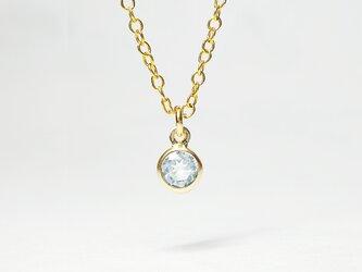 【3月誕生石】輝く水色の1粒。アクアマリン・ネックレス [送料無料]の画像