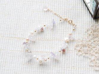 春色のナイロンコートワイヤーブレスレット 桜14kgfの画像