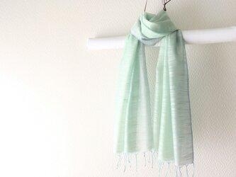 春色新作*シルク100%手染めストール mint & blueの画像