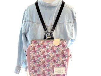 リバティファブリック3WAYリュック貴重品ポケット&ボトルポケット付き CoventGarden×ローズピンクの画像