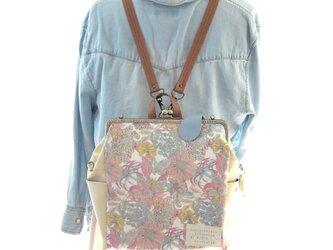 リバティファブリック3WAYリュック貴重品ポケット&ボトルポケット付き Angelica Garla×クリームイエローの画像