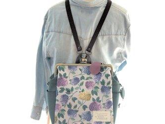 リバティファブリック3WAYリュック貴重品ポケット&ボトルポケット付き Suffolk Prize×グリーンの画像