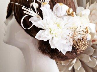 華々 white系ヘッドドレスとパール18点Set No728 ウェディングの画像