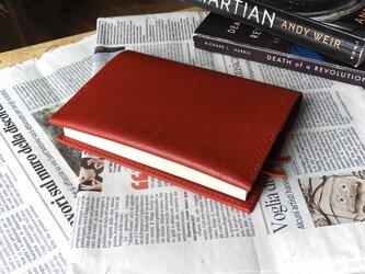 イタリア革の文庫本カバー/赤の画像