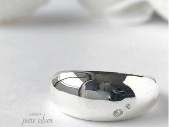 サイズ入荷❣️送料無料✴︎ぽってり♡ジルコニア付きリング 純銀  purecubicの画像