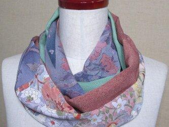 着物リメイク 縮緬花模様の小紋×2種類の江戸小紋からスヌードの画像