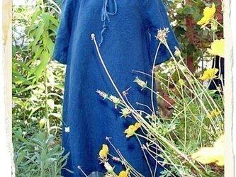 自然染め リネン ベルスリ-プワンピ-ス(藍染め)の画像