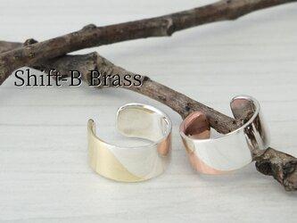 C-ShiftBBs  銀と真鍮のイヤーカフ 幅6mm <鏡面/ツヤ消し 選択可>の画像