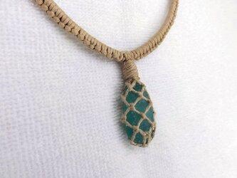 シーグラスヘンプ編みネックレス(55センチ)の画像
