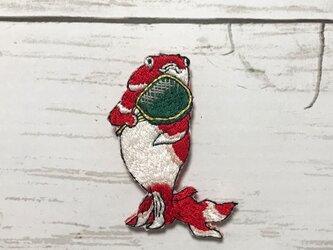 手刺繍浮世絵ブローチ*歌川国芳「金魚づくし・ぼんぼん」よりの画像
