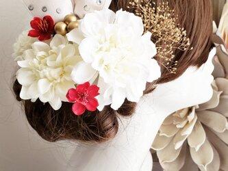 ゴールドかすみ草とwhite系ダリアの髪飾り9点Set No729 成人式 袴の画像