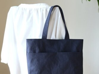 (外ポケット)ミッドナイトブルー 浜松産帆布使用横長トートL【受注製作】の画像