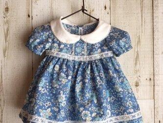ダッフィーサイズのお洋服 小花ワンピース(ブルー)の画像