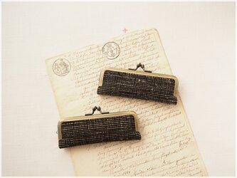 ■手紡ぎ、手織りシルク・リネンのがま口印鑑ケース 【Lサイズ】 / bka■ hanko case (L-gmi-bkaの画像