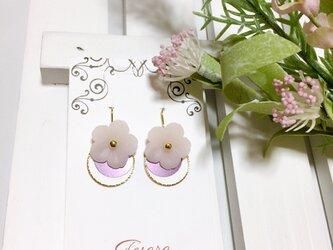 春色★桜モチーフのフープピアス(イヤリング)の画像