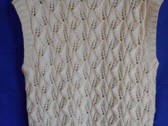 木の葉の透かし編みボリュームベストの画像