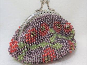 ビーズがま口(紫に赤い花)の画像