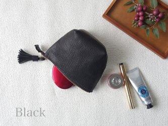本革のタッセルポーチ(Black)の画像