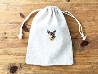 刺繍入り巾着袋 「キツネ」の画像