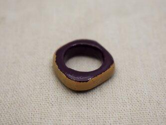 指輪 10号 紫漆白漆の画像