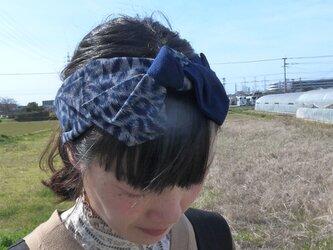 久留米絣のリボンターバン(本藍・手織り)の画像