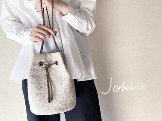 bag[手織りオーバーショット織  巾着バッグ]クリームホワイトの画像