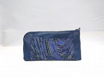 本革ハーフラウンド型 長財布(手染めネイビー×柄物)【一点物】の画像