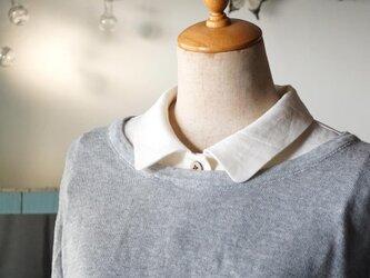 生成りリネン角丸襟の付け襟の画像