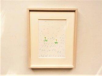「春の雨」イラスト原画 ※額縁入りの画像