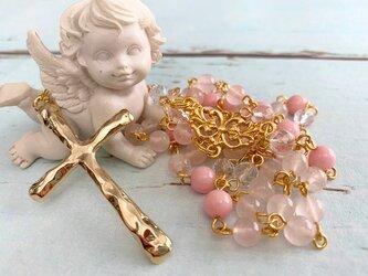 ローズクォーツと桜ジェードのロザリオの画像