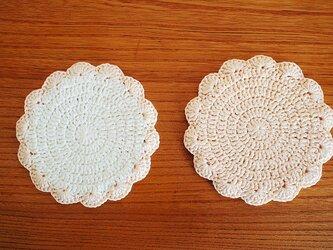 リボン糸の花型コースター*オフホワイト×ペールピンク*ペアの画像
