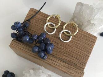 真鍮とシルバーのmini double hoop pierce ピアスの画像