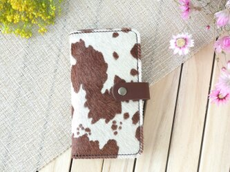 Xperia 毛付き革ハラコ&牛革 手帳型スマホケース(背面名入れ刻印無料)の画像