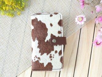 iPhone8Plus/X/11 毛付き革ハラコ&牛革 手帳型スマホケース(背面名入れ刻印無料)の画像
