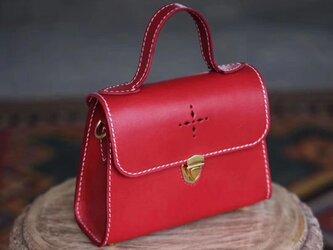 台形♪本革手作りのお出かけ肩掛けトート ショルダーバッグ 2WAY 鞄 小さいの画像