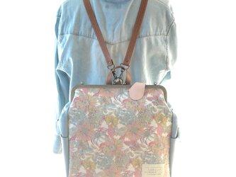 リバティファブリックBIG3WAYリュック貴重品ポケット&ボトルポケット付き Angelica Garla×スカイブルーの画像