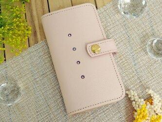 iphone8プラス/7プラス/6プラス  本革スマホケース ピンク・選べるスワロの画像