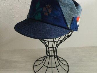 着物リメイクキャップ(ブルー58〜60)の画像