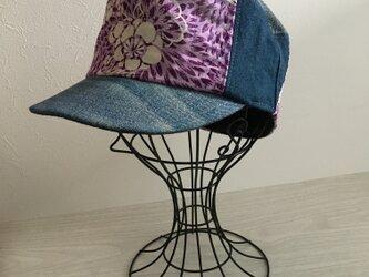 着物リメイクキャップ(紫58〜60)の画像