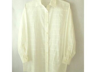 薄地のコットンのシャツ 白い格子(1)の画像