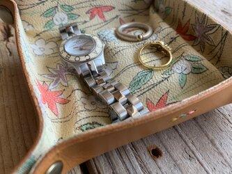 旅の必需品! 着物の古布と革で作ったアクセサリートレイ キャメル トラベル革小物 ラッピング可の画像