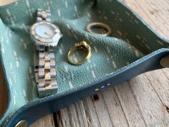 旅の必需品! 着物の古布と革で作ったアクセサリートレイ ブルー トラベル革小物 ラッピング可の画像