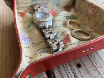 旅の必需品! 着物の古布と革で作ったアクセサリートレイ レッド トラベル革小物 ラッピング可の画像
