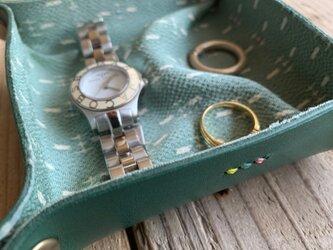 旅の必需品! 着物の古布と革で作ったアクセサリートレイ グリーン トラベル革小物 ラッピング可の画像