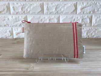 ドイツ製マングル布で作ったヴィンテージのリネンポーチの画像