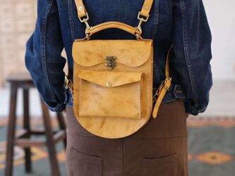 3 way ラックスリュック 本革バッグ手作りのレザーバッグ 手染め / 総手縫いの画像