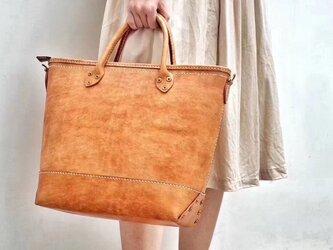 本革手作りの大容量トートバッグ手持ち 肩掛け 2WAY 鞄の画像